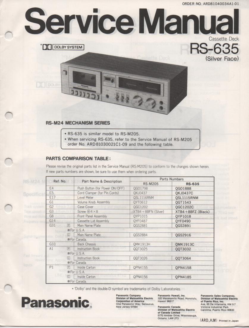 RS-635 Cassette Deck Service Manual