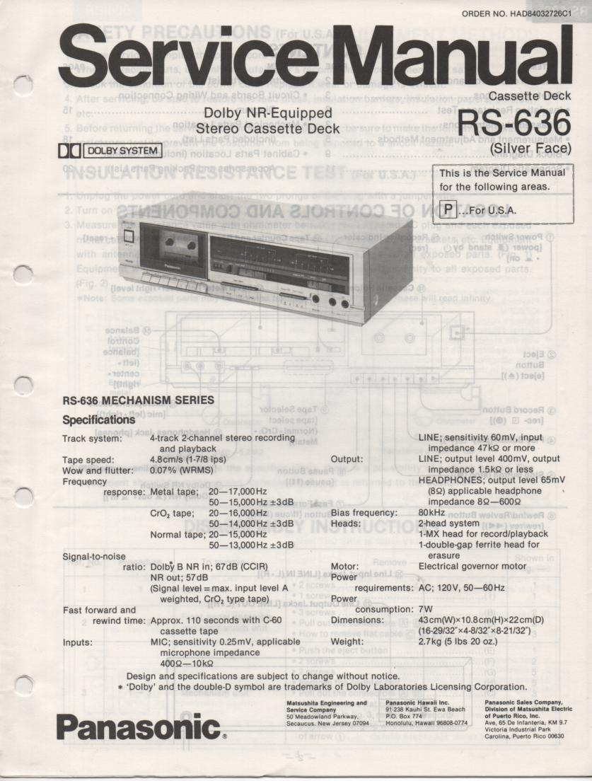 RS-636 Cassette Deck Service Manual