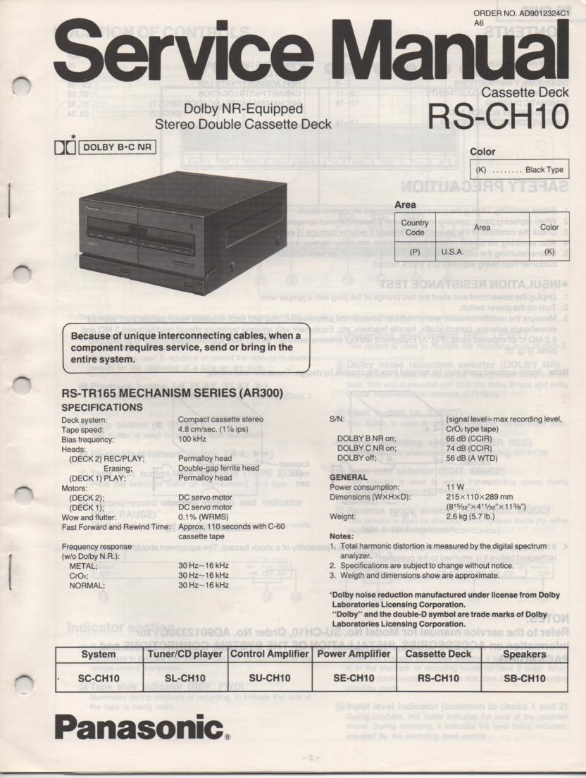 RS-CH10 Cassette Deck Service Manual