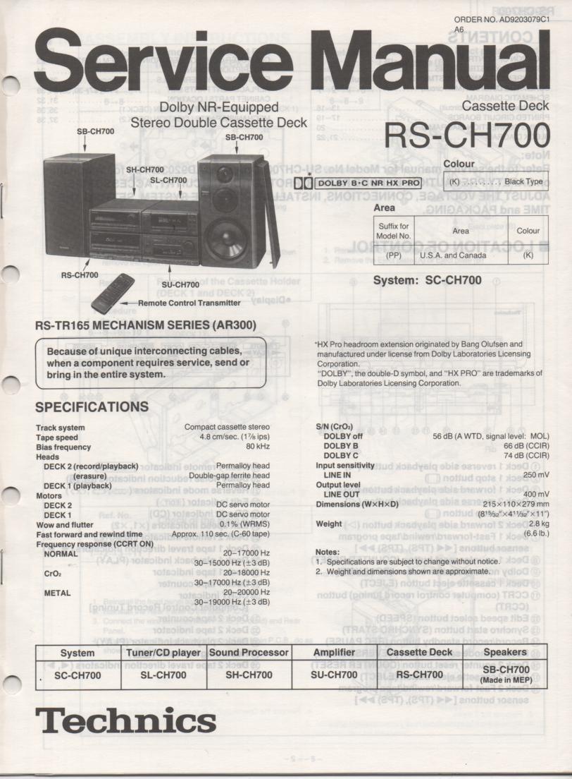RS-CH700 Cassette Deck Service Manual