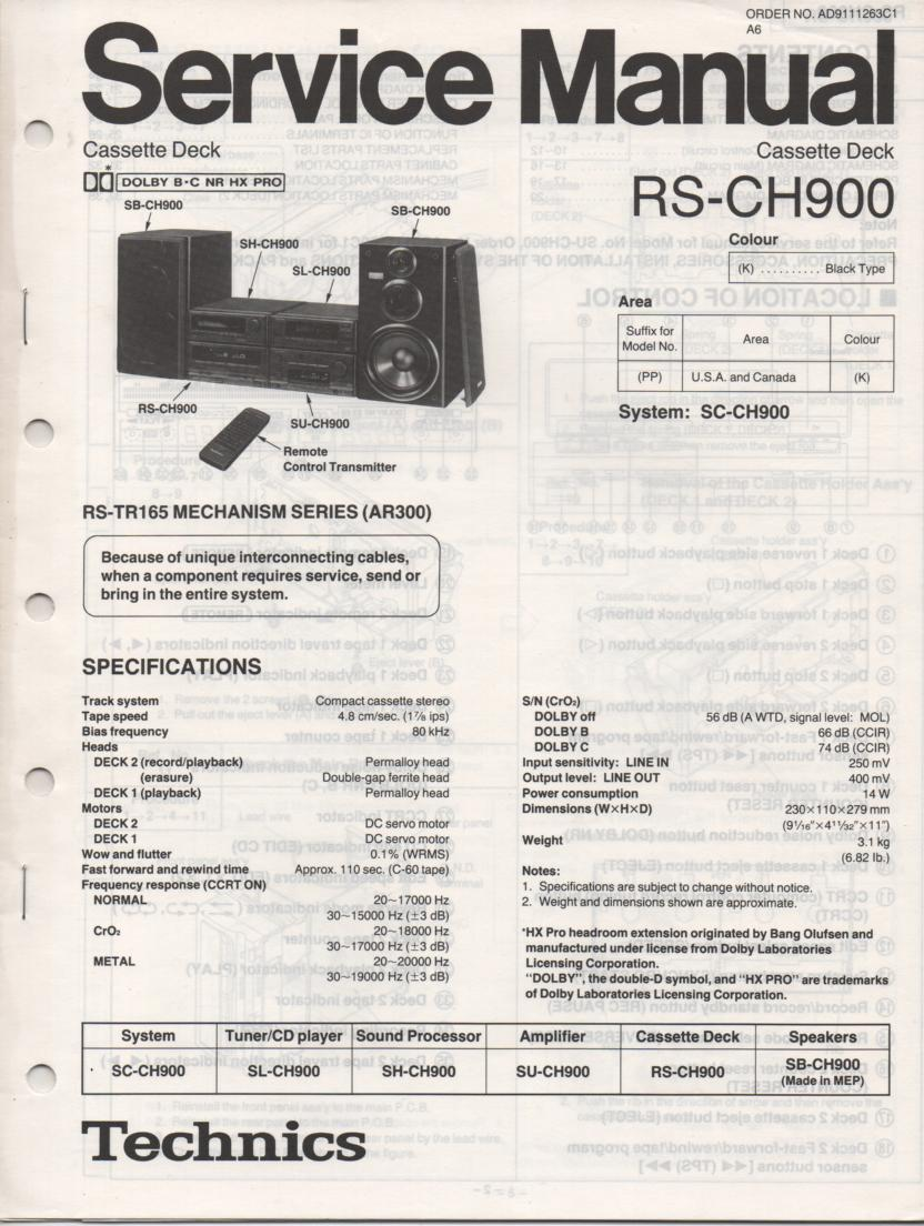 RS-CH900 Cassette Deck Service Manual