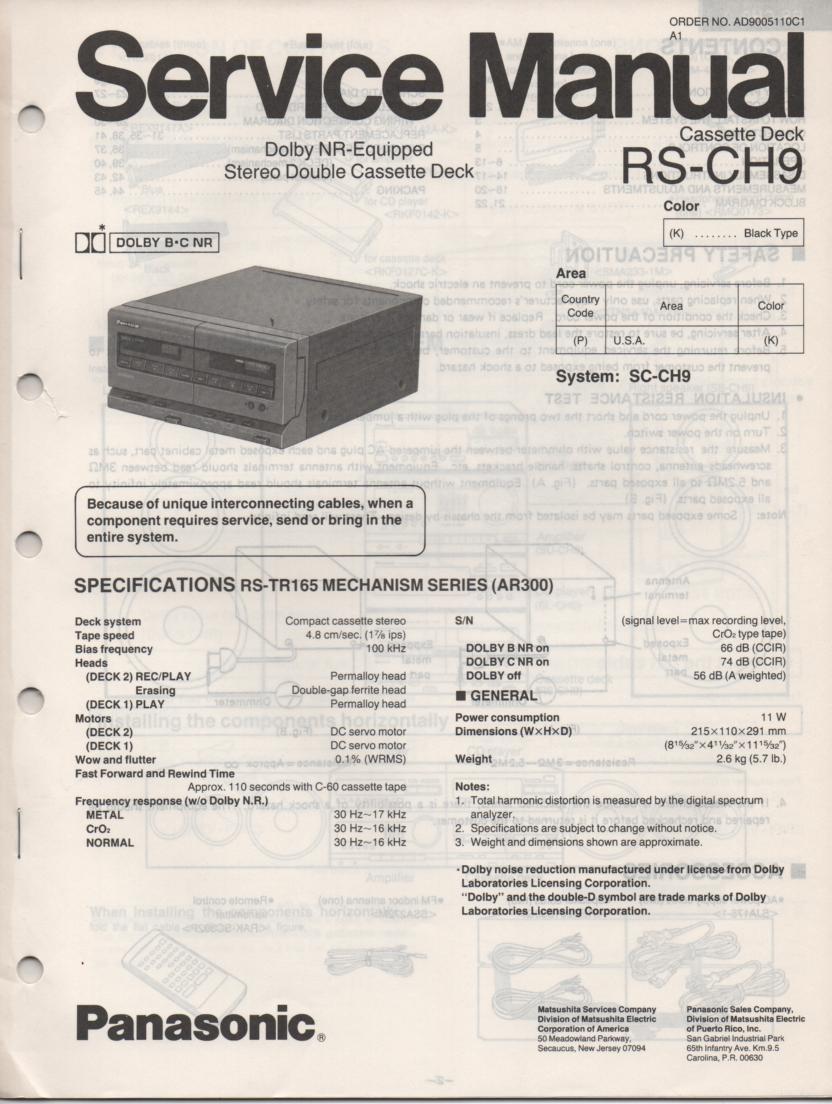RS-CH9 Cassette Deck Service Manual