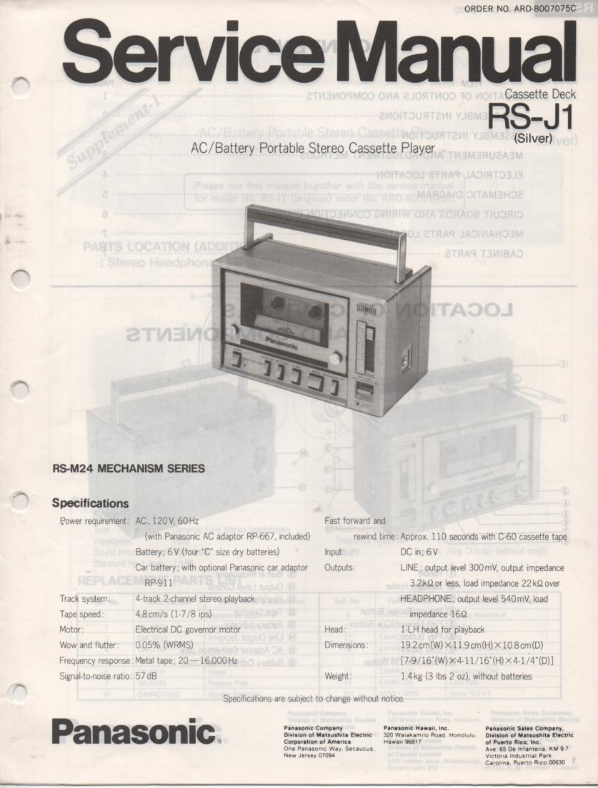 RS-J1 8-Track Player Service Manual