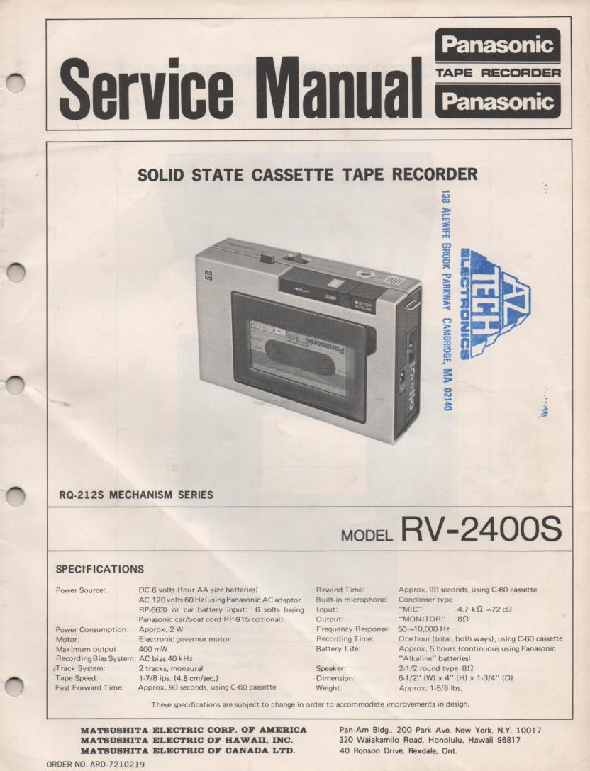 RV-2400S Portable Cassette Deck Service Manual