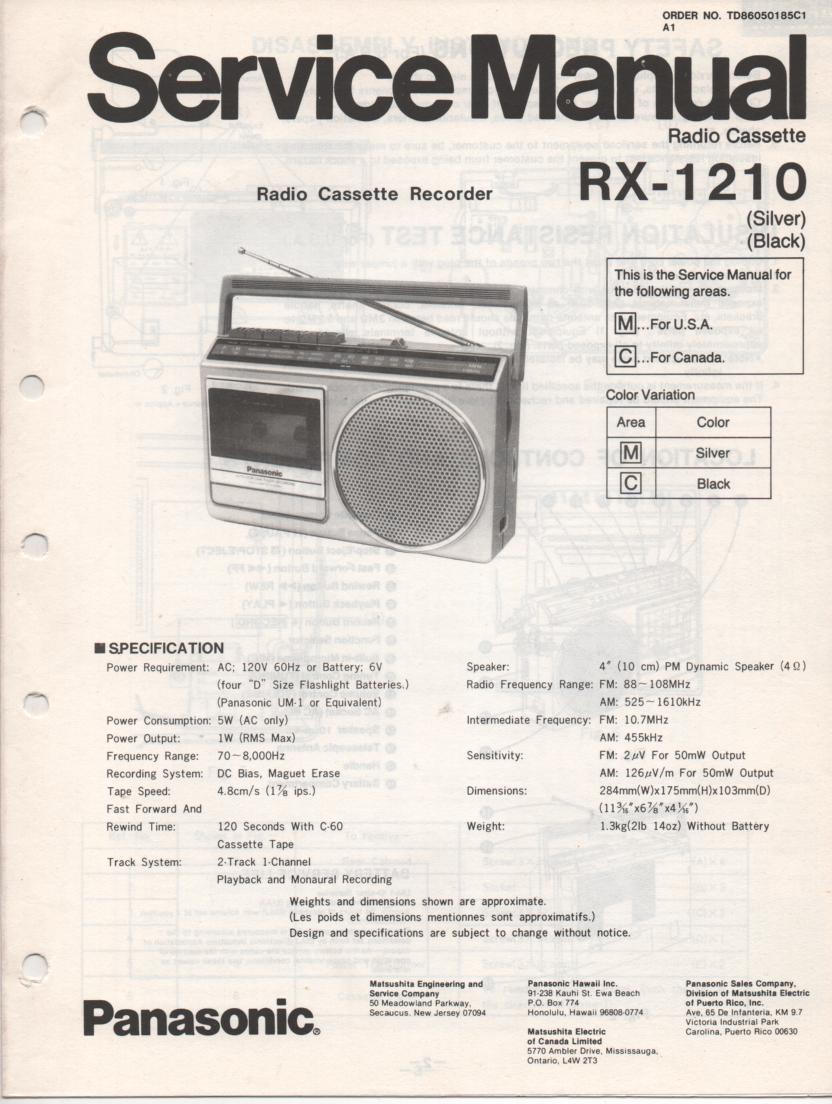 RX-1210 Radio Cassette Radio Service Manual