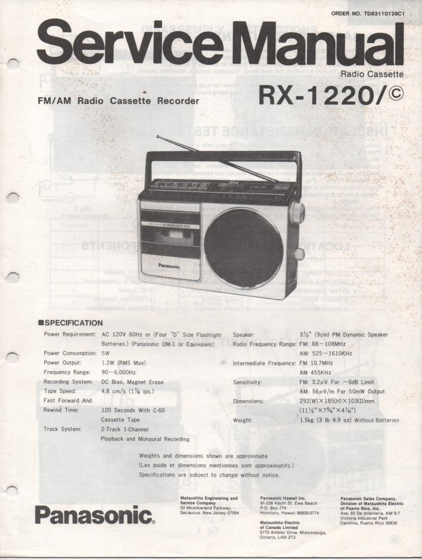 RX-1220 RX-1220C Radio Cassette Radio Service Manual