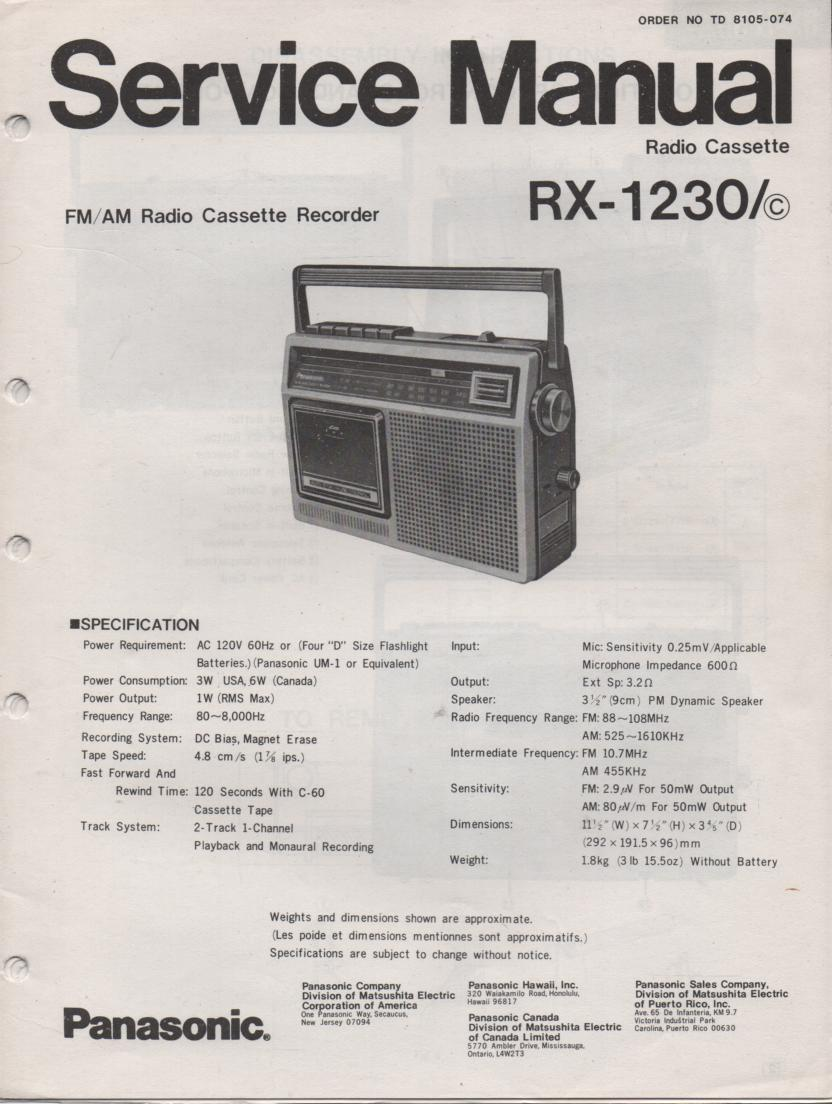 RX-1230 RX-1230C Radio Cassette Radio Service Manual
