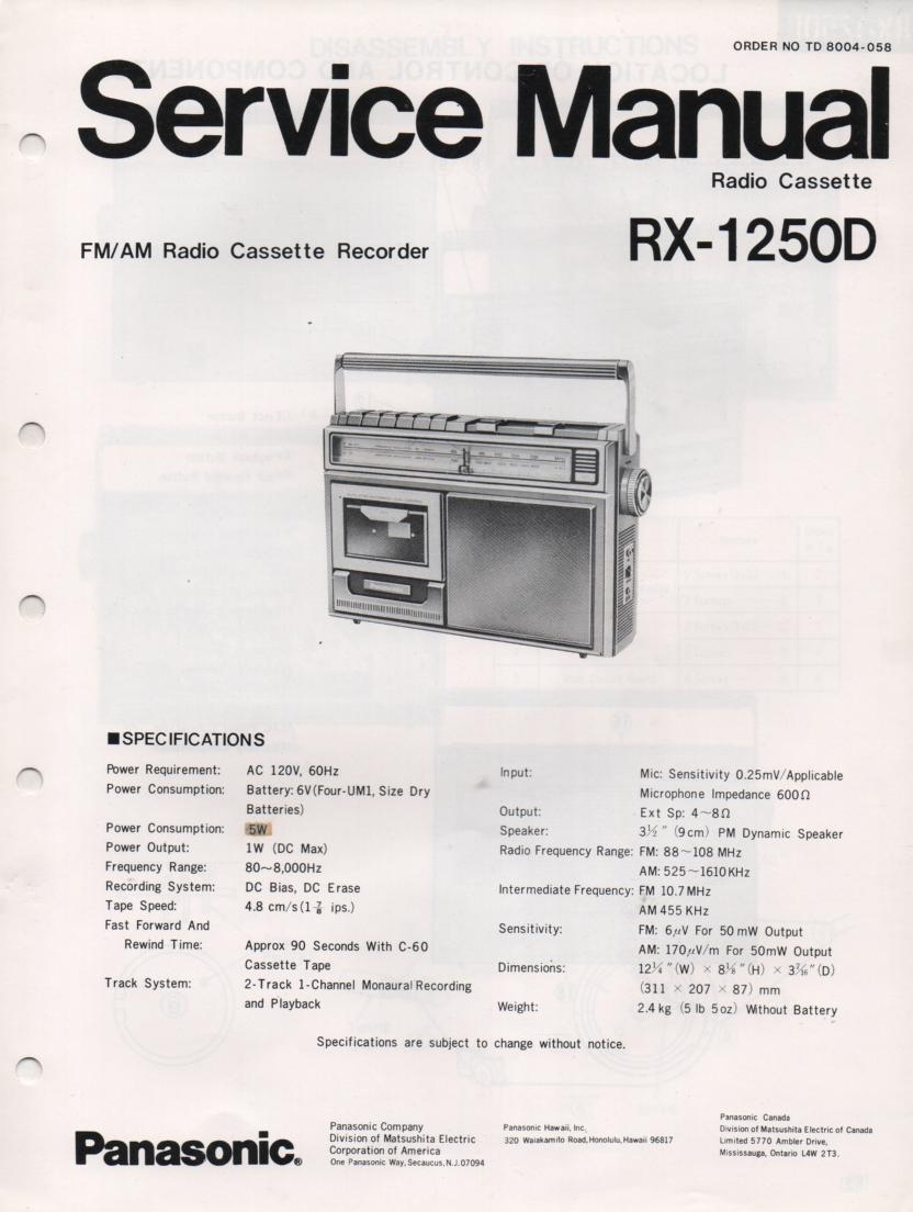 RX-1250D Radio Cassette Radio Service Manual