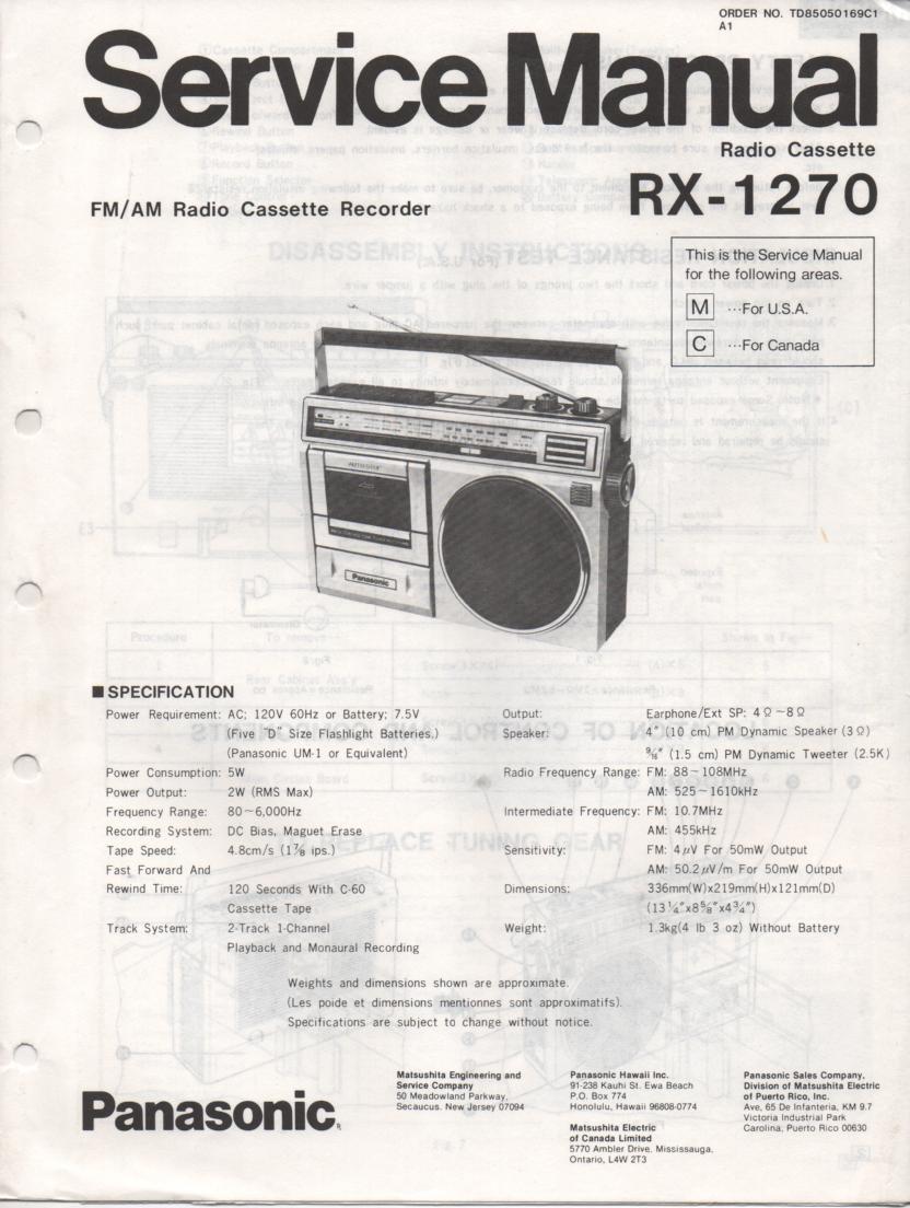 RX-1270 Radio Cassette Radio Service Manual