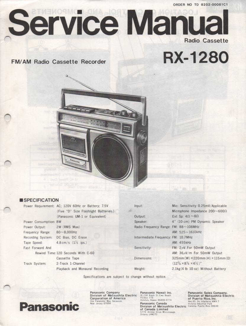 RX-1280 Radio Cassette Radio Service Manual