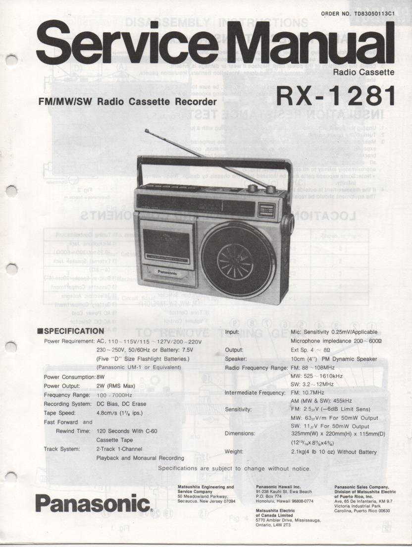 RX-1281 Radio Cassette Radio Service Manual