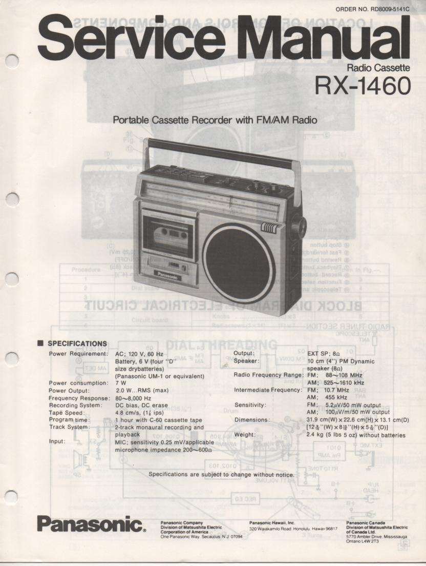 RX-1460 Radio Cassette Radio Service Manual