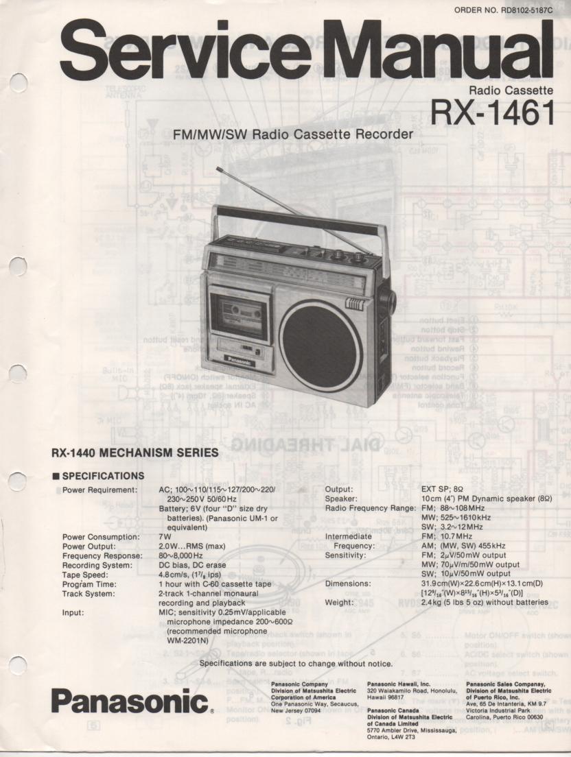 RX-1461 Radio Cassette Radio Service Manual