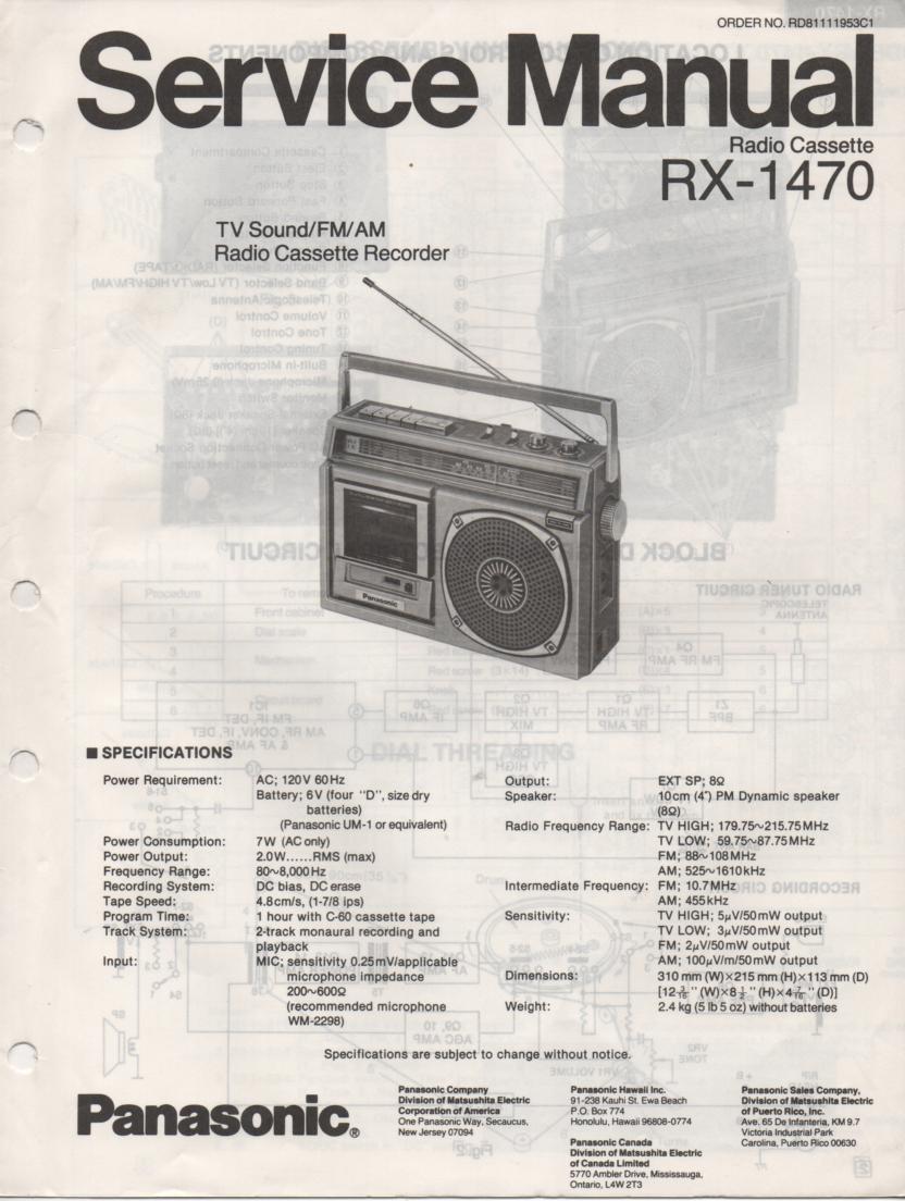 RX-1470 Radio Cassette Radio Service Manual