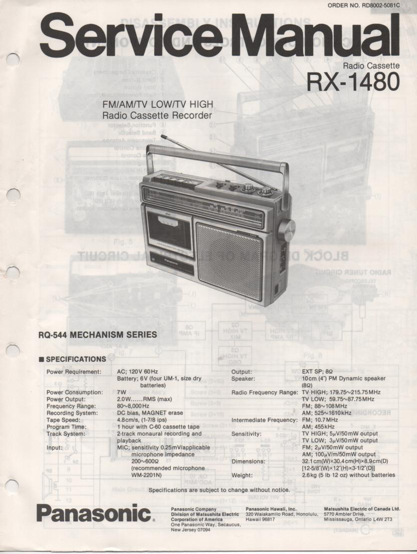 RX-1480 Radio Cassette Radio Service Manual