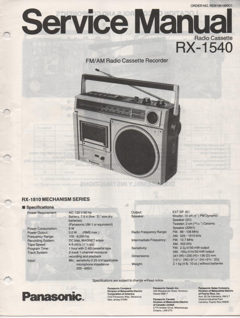 RX-1540 Radio Cassette Radio Service Manual
