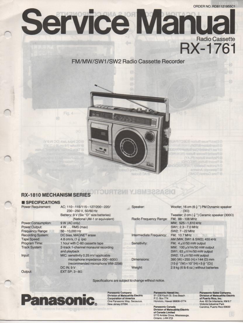 RX-1761 Radio Cassette Radio Service Manual
