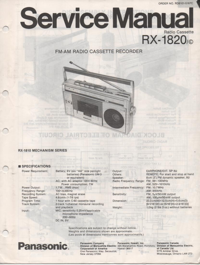 RX-1820 RX-1820C Radio Cassette Radio Service Manual
