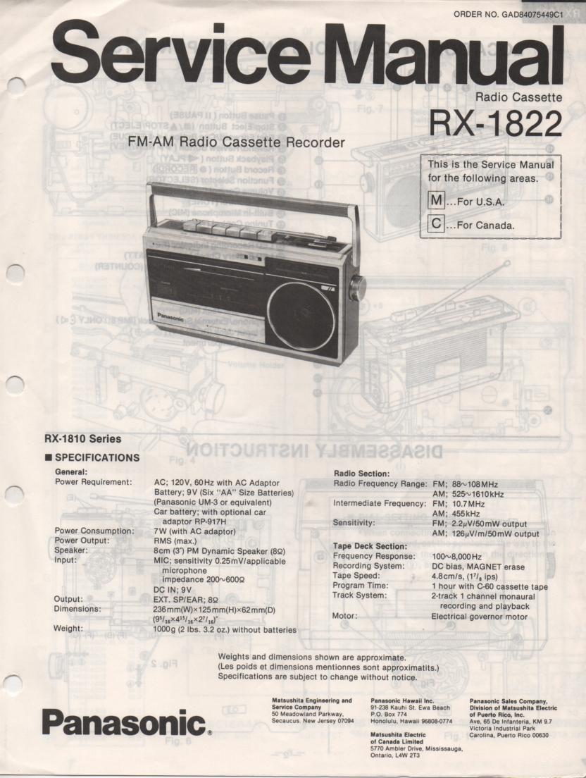 RX-1822 Radio Cassette Radio Service Manual