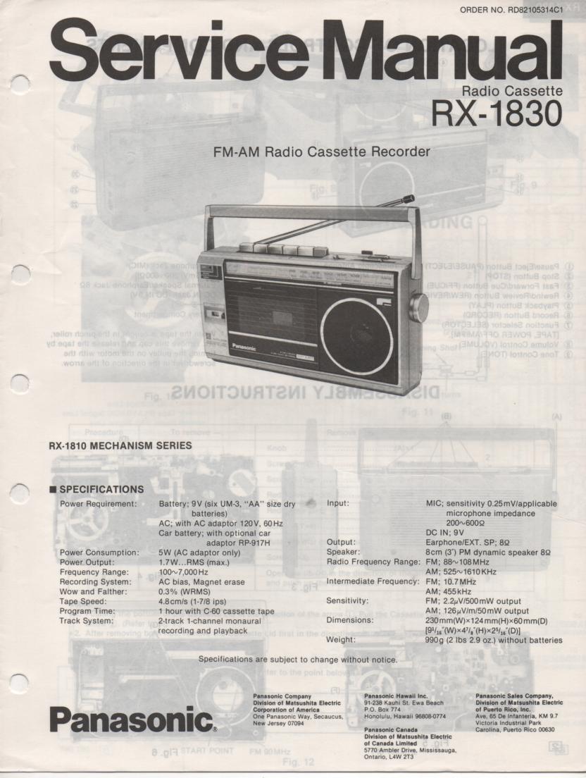 RX-1830 Radio Cassette Radio Service Manual