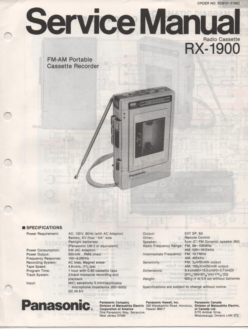 RX-1900 Radio Cassette Radio Service Manual