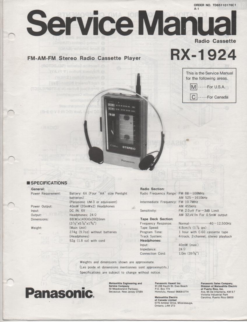 RX-1924 Radio Cassette Radio Service Manual