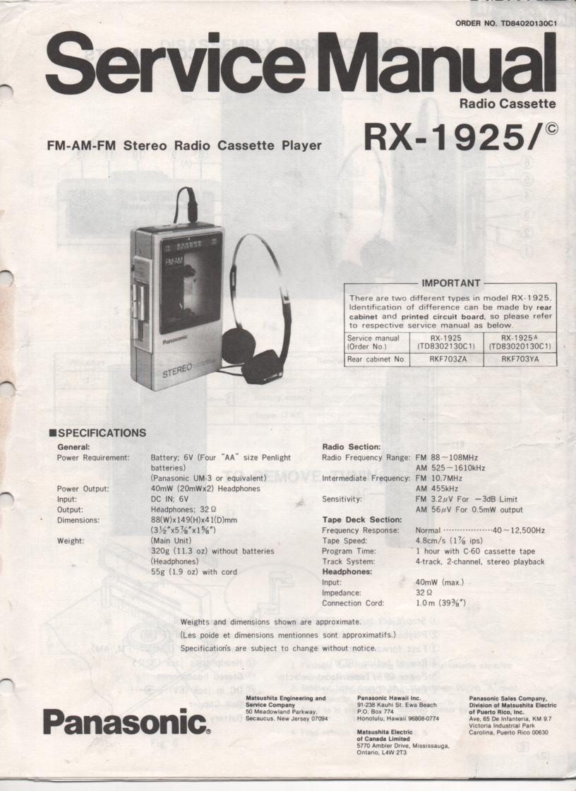 RX-1925 RX-1925C Radio Cassette Radio Service Manual