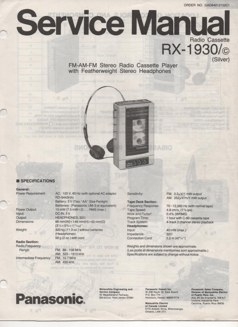 RX-1930 RX-1930C Radio Cassette Radio Service Manual