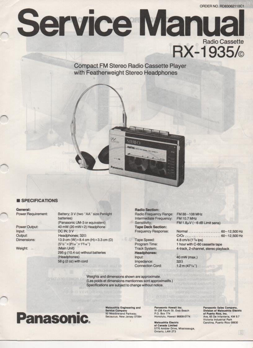 RX-1935 RX-1935C Radio Cassette Radio Service Manual