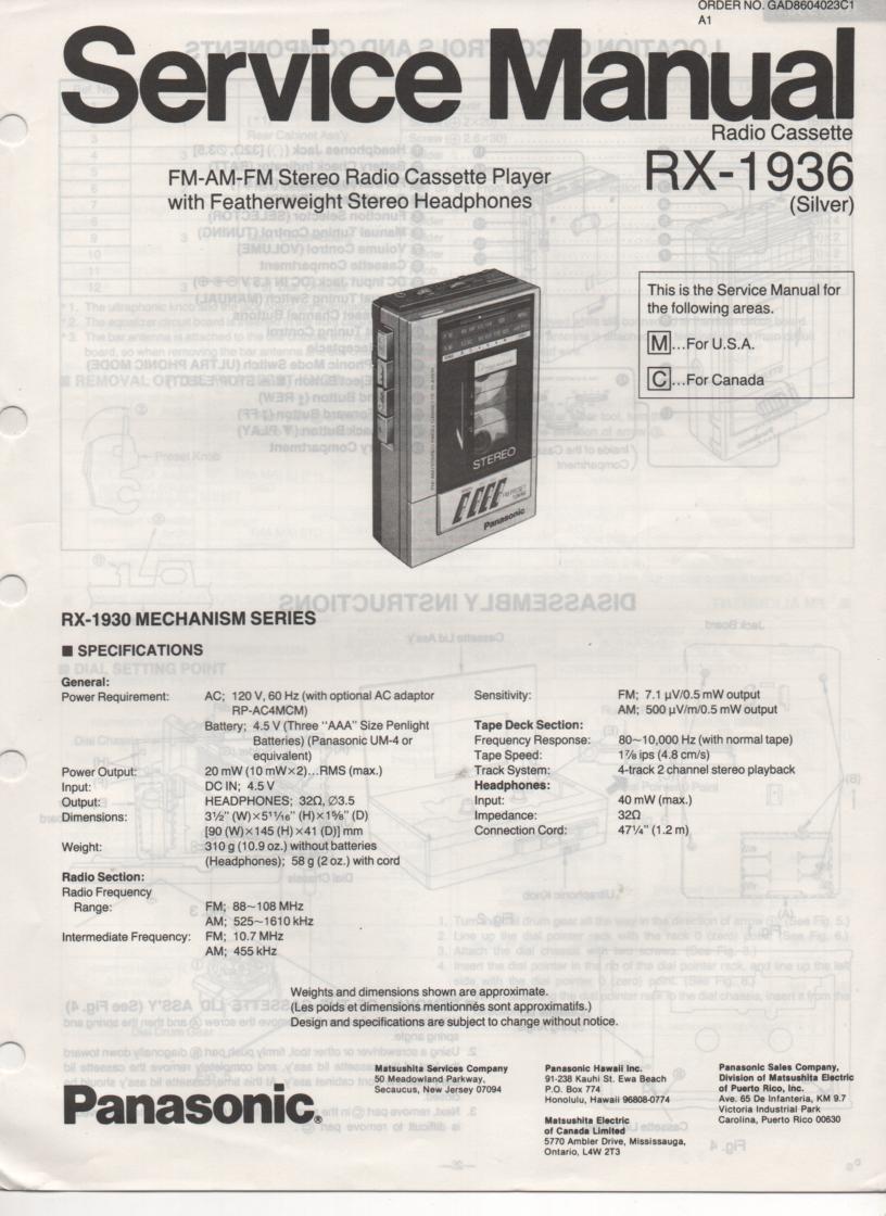 RX-1936 Radio Cassette Radio Service Manual