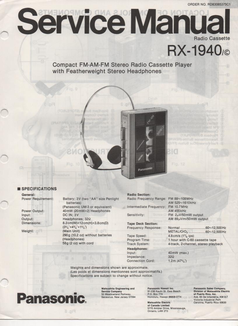 RX-1940 RX-1940C Radio Cassette Radio Service Manual
