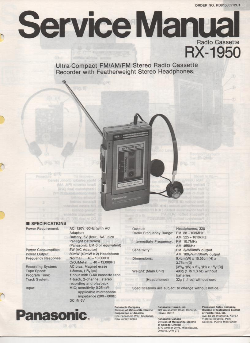 RX-1950 Radio Cassette Radio Service Manual
