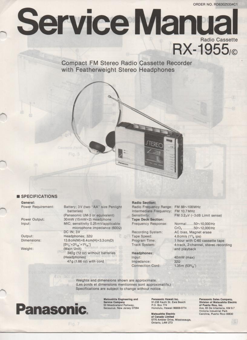 RX-1955 RX-1955C Radio Cassette Radio Service Manual