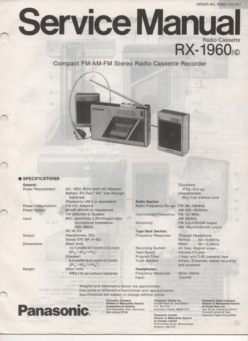 RX-1960 RX-1960C Radio Cassette Radio Service Manual