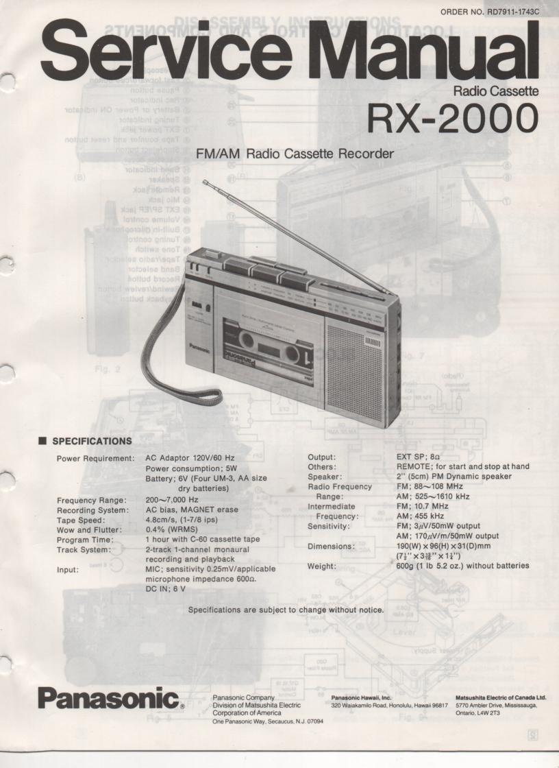 RX-2000 Radio Cassette Radio Service Manual