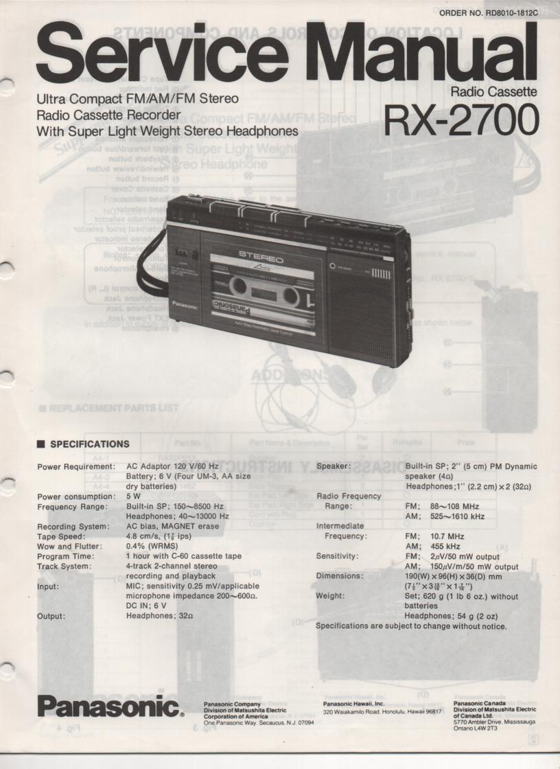 RX-2700 Radio Cassette Service Manual