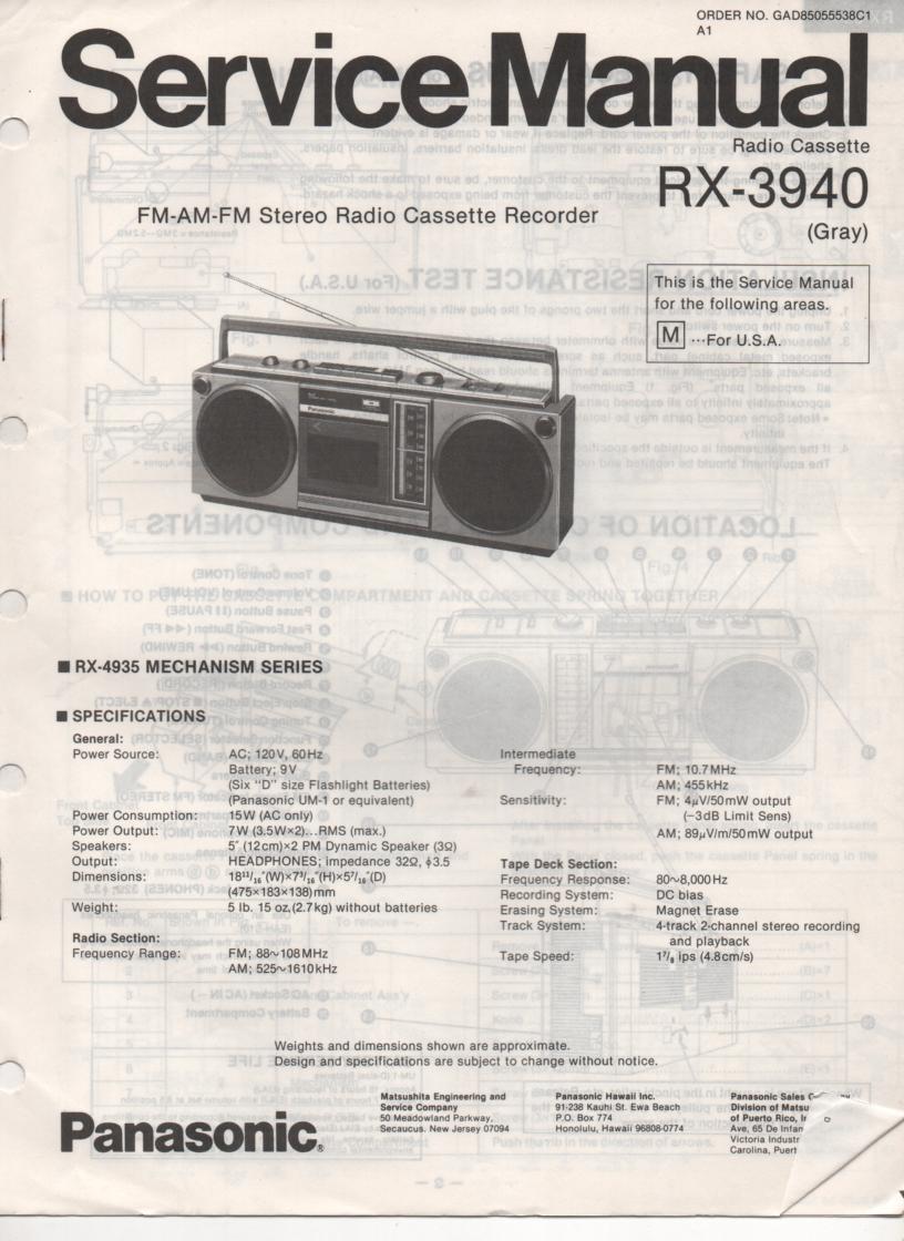RX-3940 Radio Cassette Service Manual