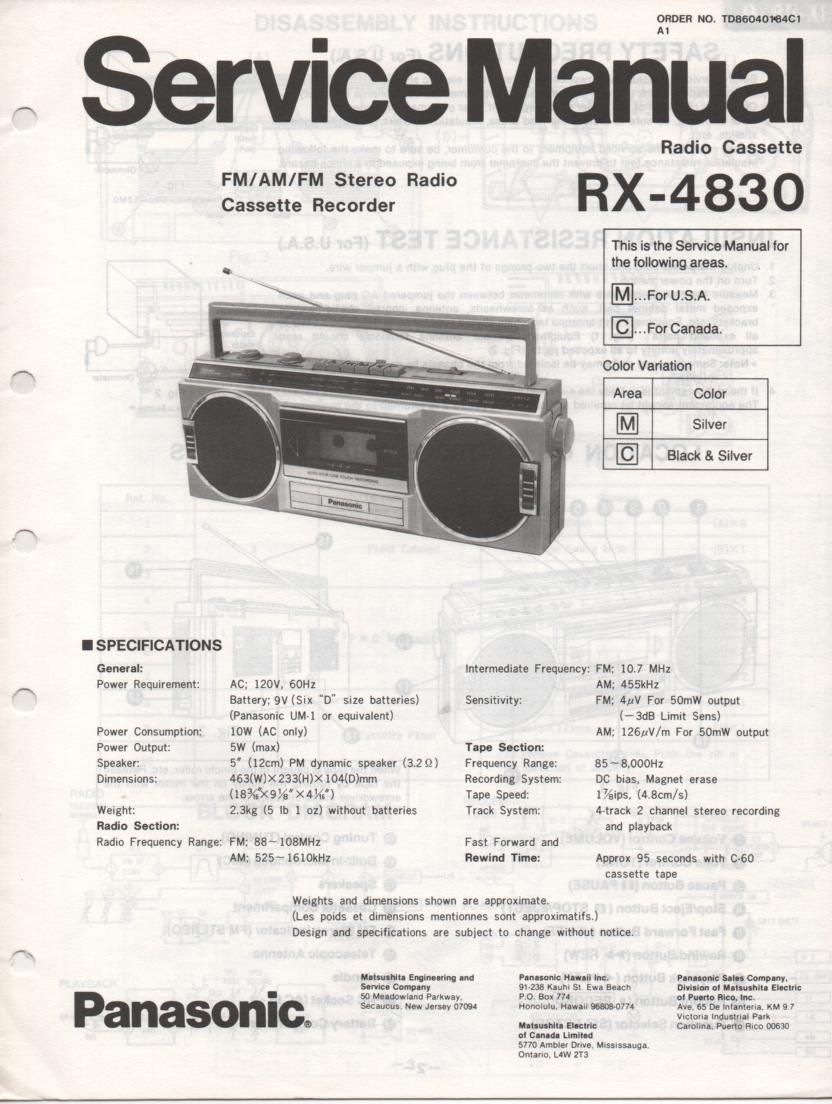 RX-4830 Radio Cassette Radio Service Manual