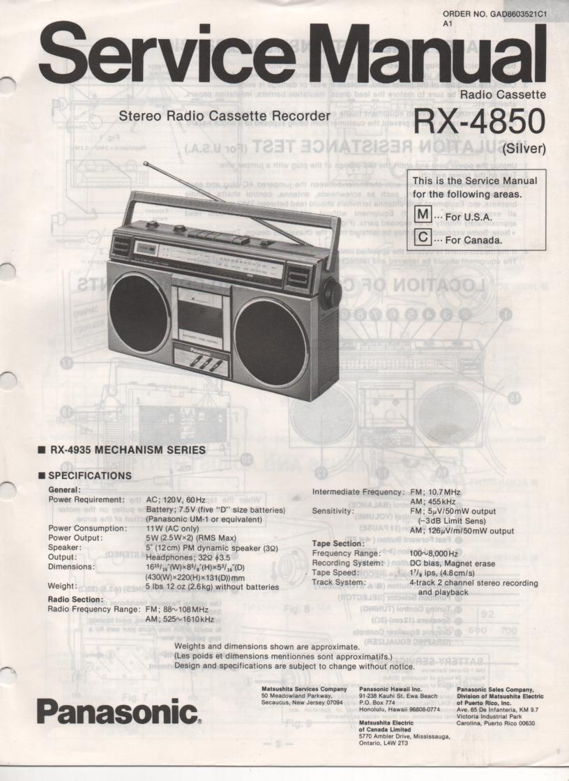 RX-4850 Radio Cassette Radio Service Manual