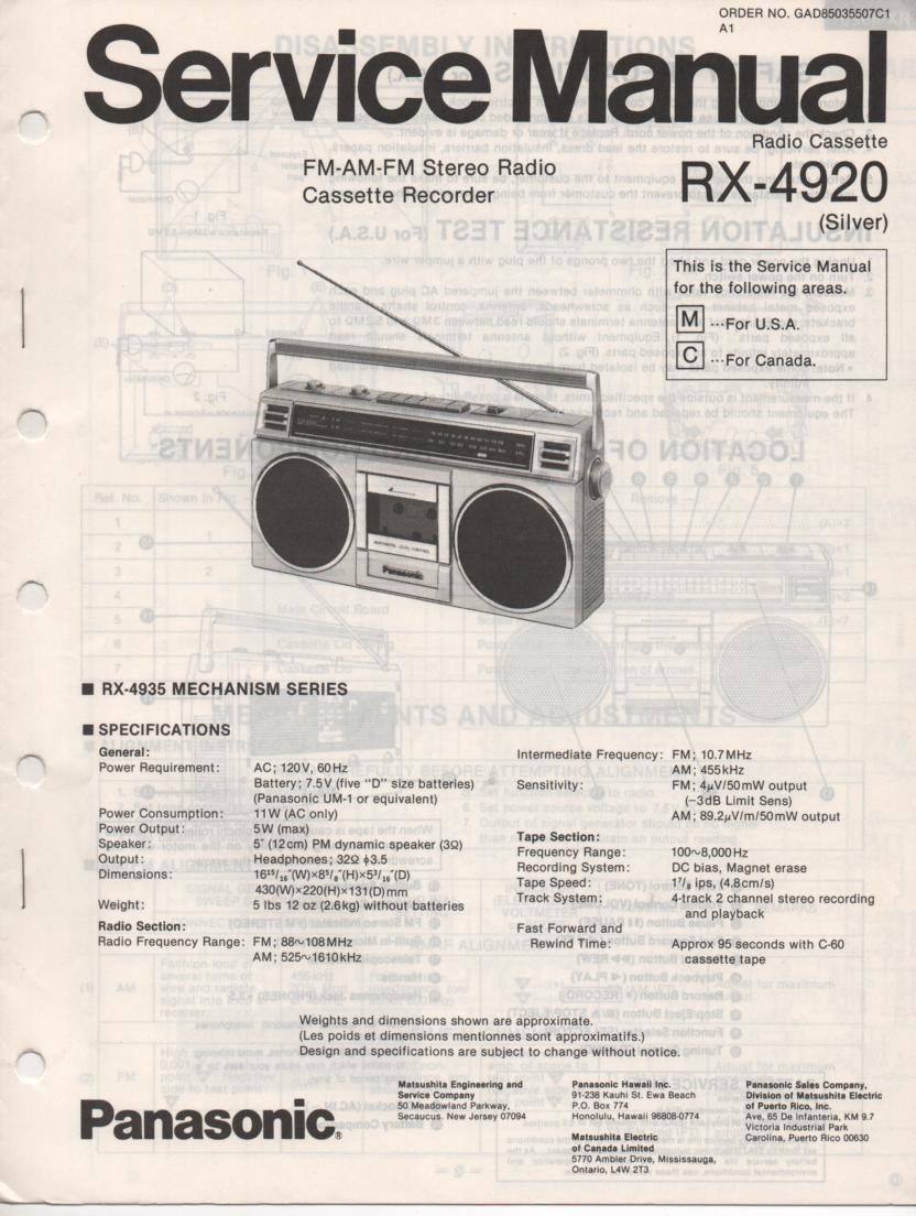 RX-4920 Radio Cassette Radio Service Manual