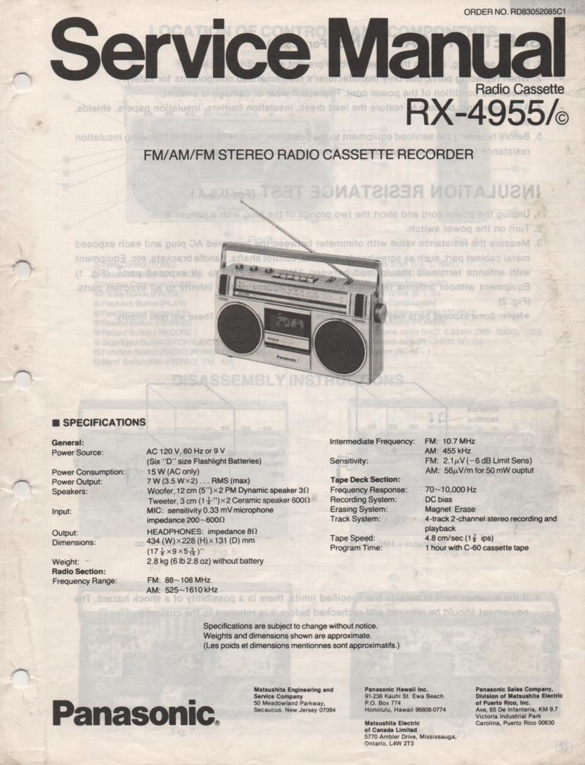 RX-4955 RX-4955C Radio Cassette Radio Service Manual