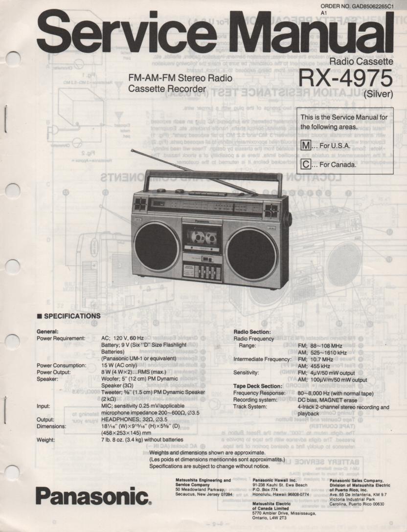 RX-4975 Radio Cassette Radio Service Manual