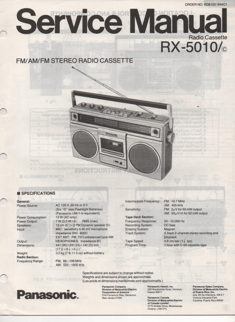 RX-5010 RX-5010C Radio Cassette Radio Service Manual
