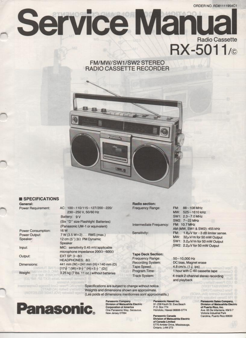 RX-5011 RX-5011C Radio Cassette Radio Service Manual