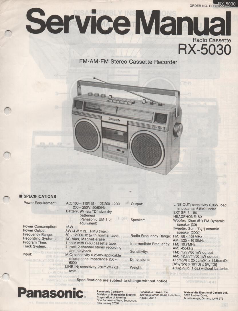 RX-5030 Radio Cassette Radio Service Manual