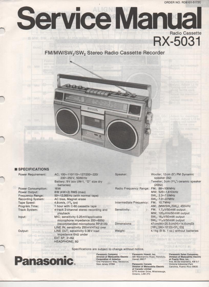 RX-5031 Radio Cassette Radio Service Manual