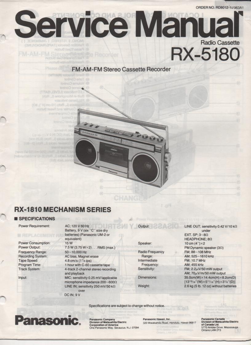 RX-5180 Radio Cassette Radio Service Manual