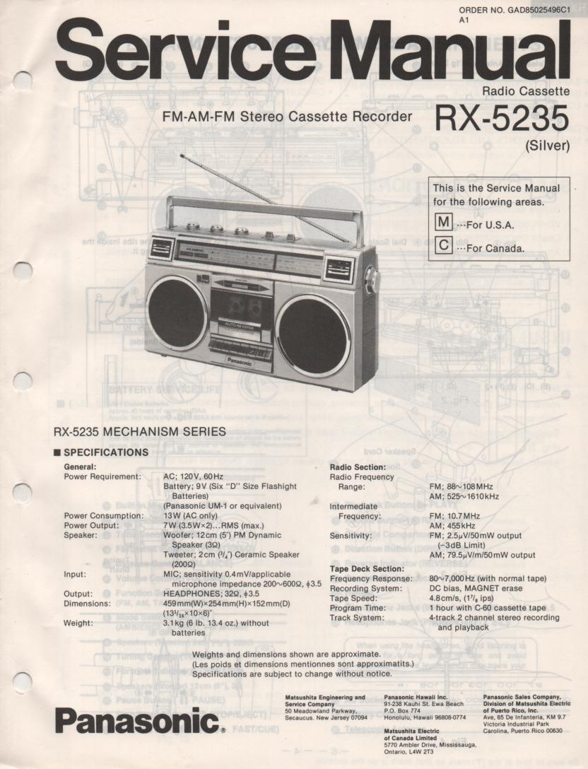 RX-5235 Radio Cassette Radio Service Manual