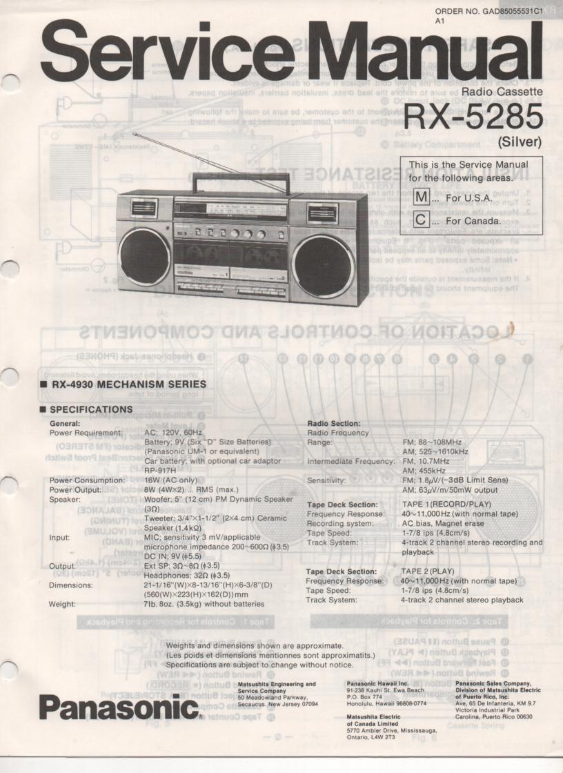 RX-5285 Radio Cassette Radio Service Manual