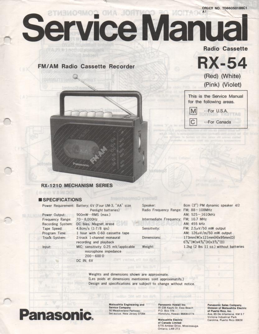 RX-54 RX-54A Radio Cassette Radio Service Manual